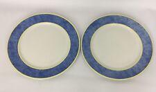 2 Royal Doulton Carmina Blue Yellow Trim Chargers Service Plates