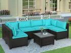 7 Piece Rattan U-shape Sectional Sofa Set W/cushions Patio Garden Furniture Set