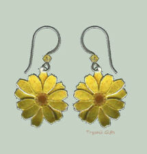 Bamboo Jewelry DAISY Cloisonne Flower EARRINGS STERLING Silver Yellow + Box
