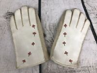 Vintage white Vinyl kid gloves Embroidered Flowers. Knit Sides. Lined. size 4