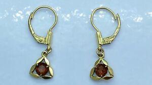 14ct Rolled Gold Orange Cubic Zirconia Dangly Earrings 1.54g