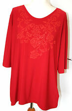 First Avenue Classic UK20 EU48 red stretch detail top with elbow length sleeves