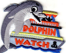 """""""DOLPHIN WATCH""""- NAUTICAL - OCEAN - SEA FISH - BEACH - IRON ON EMBROIDERED PATCH"""