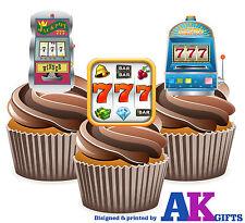 Máquina tragaperras Precortada Apuestas Casino 12 Comestible Cupcake Toppers Decoraciones De Pastel