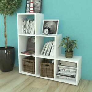Staircase Bookcase 6 Open Compartments Display Shelf Sturdy And Durable White