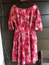 Vintage 50s Floral Cotton Dress Mid Century Metal Zip L
