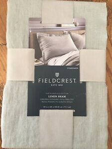 New NWT Fieldcrest Gray 100% Linen Standard Bed Pillow Sham Flores Collection