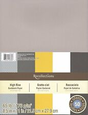 "New Recollections 8.5x11"" Cardstock Paper High Rise Grey White Golden 50 Sheets"