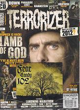 TERRORIZER UK #218 January 2012 LAMB of GOD Watain NIGHTWISH POSTER + CD