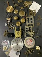 Mixed Lot of Vintage Clock Movement Parts Pieces Old Clock Replacement Parts