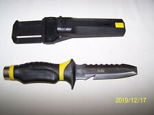 UNDERWATER KINETICS BLUE TANG BLUNT TIP DIVE KNIFE  ~ BLACK & YELLOW W/ SHEATH