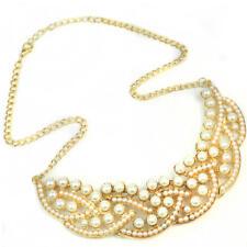 Perla de imitación Vintage nuevo hueco oro gargantilla collar de Collar babero