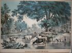 Nathaniel Currier Hand colored Lithograph Captioned, Fording the River, c1848-56