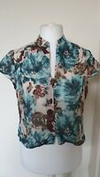 Laura Ashley Silk Mix Floral Watercolour Style Blouse Top Size 16
