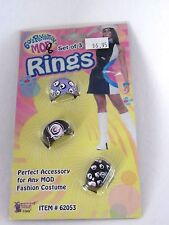 60's Mod Set of 3 Fashion Rings Jewelry Hippie Costume Cosplay Halloween
