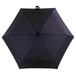 Totes Mini Thin Round Mens Compact Umbrella Black