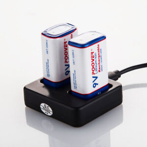 2 x 9volt Batteries Lithium Rechargeable PP3 Block Universal charger 9v MN1604