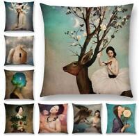Home Decor Cover Young Pillow Throw Case Sofa Linen Cotton Cushion Girl