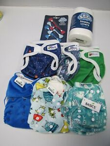 New Reusable Nappies & BABY BEEHINDS nappy Covers plus Nappy Liners and Clips