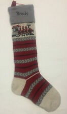 Pottery Barn Kids NATURAL FAIR ISLE STOCKING Train Wool - Name BRODY