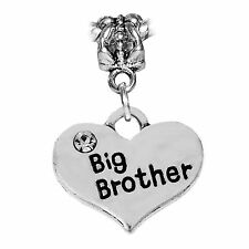 Big Brother Heart Older Sibling Little Sister Dangle Charm for European Bracelet