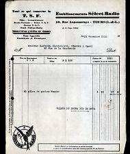 """TOURS (37) LAMPES & RADIO T.S.F. """"Ets SELECT-RADIO"""" publicité PHILIPS en 1930"""
