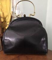 Vintage Ohr-Elle Handbag, 1950s Black Top Handle Purse, Vintage Handbag