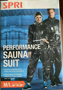 "SPRI Performance Sauna Suit Size M/L - 30""-38"" Hooded 1/2 Zip Top NEW"
