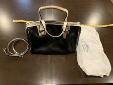 Coach Purse, Black Leather with White/Tan Accents. Pre-Owned