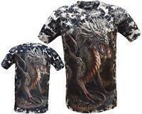 New Mens Chinese Dragon Glow in the Dark Gothic Tye Dye T- Shirt M - 3XL