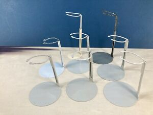 """8 USED METAL DOLL STANDS 3"""" BASE 3"""" UPRIGHT"""