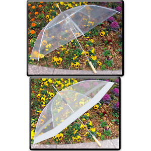 "48"" Clear Auto Open Golf Umbrella, Transparent, All Clear or Clear & White"