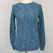 Faded Glory Antique Teal Crew Neck Cable Knit Sweater Women's Size Small S (4-6)