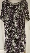 MARKS AND SPENCER  WOMAN SIZE 14 PETITE PURPLE  BLACK  LEOPARD PRINT DRESS