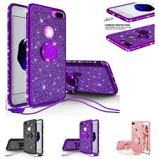 For iPhone 11 Max Xr Xs 8 7 Plus Glitter Ring Phone Case Girls w/Kickstand Cover