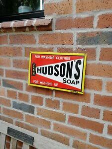 Hudsons Soap Enamel Sign shop sign kitchen sign Hudson porcelain sign washing