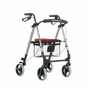 Mobiquip Mobility Walker, 4 Wheeled Rollator with Seat and Basket, Lightweight