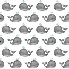 Fabric Baby Whales Grey Anchors Away on White Cotton by the 1/4 yard