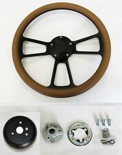 "Bronco F100 F250 F350 Truck Torino Steering Wheel Tan Grip on Black Spokes 14"""