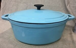 Martha Stewart Turquoise Enameled Cast Iron 7 Qt Oval Covered Dutch Oven