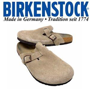 Birkenstock Betula Boston Unisex Sz 41 Women 10 Men 8 Tan Suede Mules Clogs