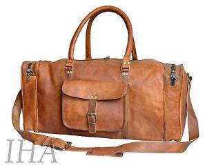 "24""New Large Vintage Men Real Leather Tote Luggage Bag Travel Bag Duffel Gym Bag"