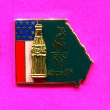 1996 OLYMPIC PIN COCA COLA PIN GOLD BOTTLE PIN ON PIN STATE OF GA USA PIN