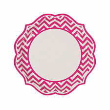 Hot Pink Chevron Scalloped Paper Dinner Plates - 8 Ct.