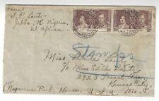 1937 Jebba Nigeria to Kansas City Missouri, Two 1 1/2d Coronation Stamps
