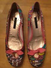 MARC JACOBS Colorful Modern Geometric Ballet Flats Bows Rare 9M Italy Beautiful