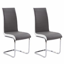 2 Grey White Dining Room Chairs Faux Leather Padded High Back Chrome Set Idea