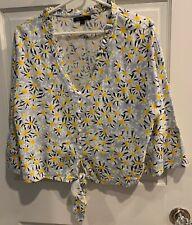 For Cynthia Womens Size Sz L Shirt Daisies Long Sleeve Blouse V-neck