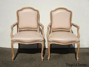 Pair Vintage French Country Leather Accent Chairs by Chateau D'AX Spa Made Italy