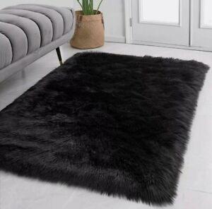 Faux Fur Rug - Black Shaggy - Suede Bonded - Plush Fur